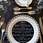 black and white calligraphy wedding menu, calligraphy wedding menu,wedding place setting ideas