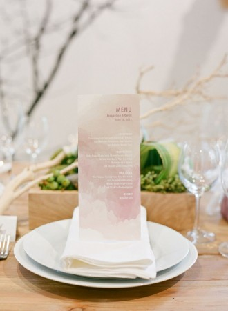 water color wedding menu, wedding table details,wedding table ideas