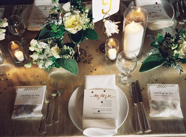 Golds And White Place Setting Fab Mood Wedding Colours