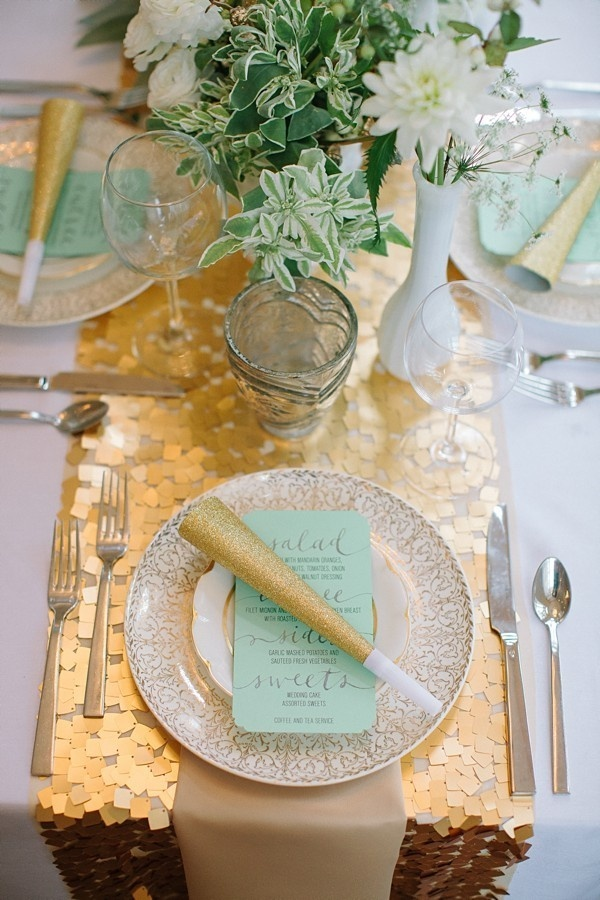 Gold, mint and green celebratory place setting - Fab Mood ...