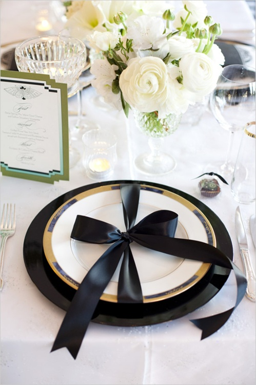 Wedding Reception Ideas Black Gold Table Setting