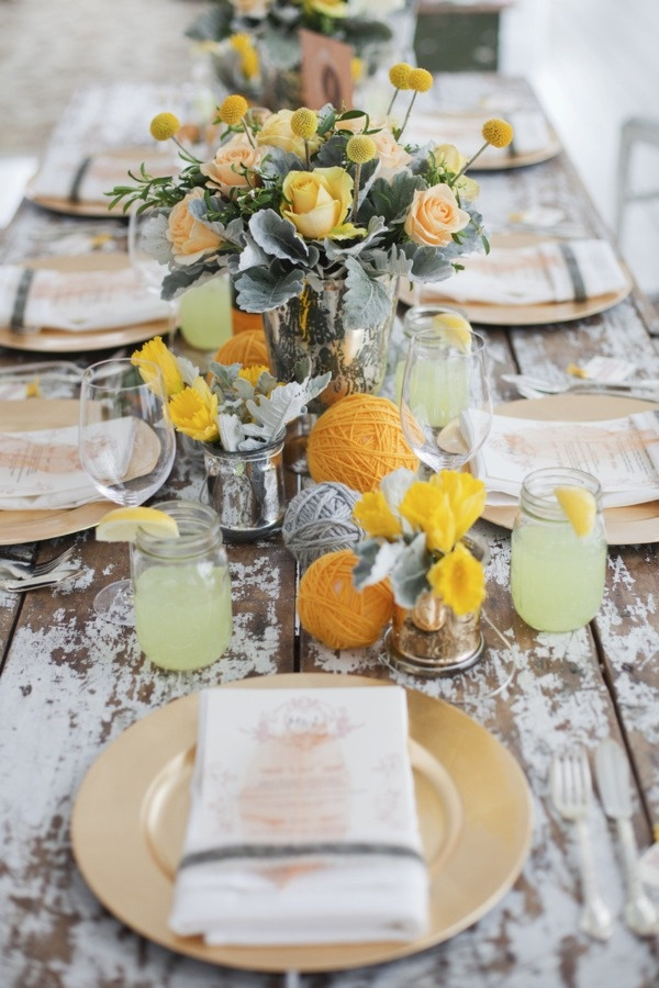 Yellow Rustic Wedding Table Ideas Fab Mood