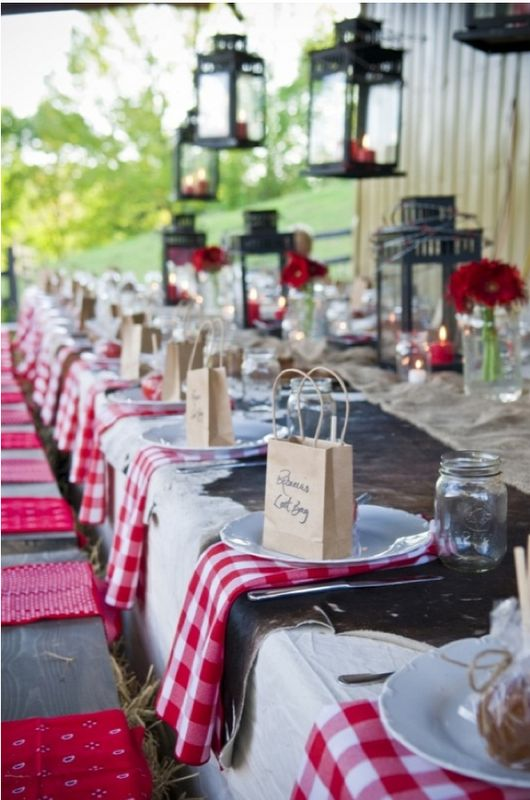 country outdoor red wedding table ideas 1 - Fab Mood | Wedding ...