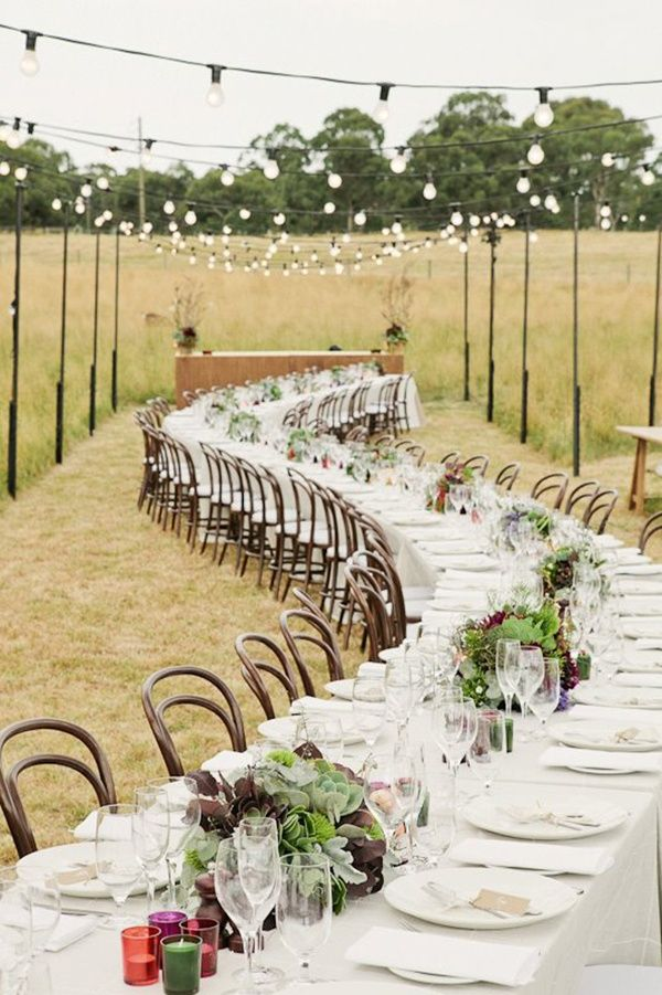Rustic Wedding Table Decorations Ideas Burlap In A Barn Outside Country