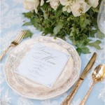 Romantic blue and white table setting