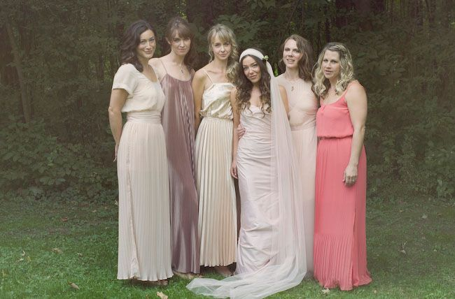 mismatched coral bridesmaids,coral blush bridesmaids,beige bridesmaids