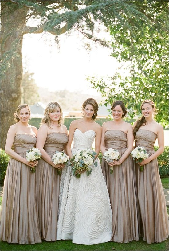 neutral bridesmaid for elegant wedding