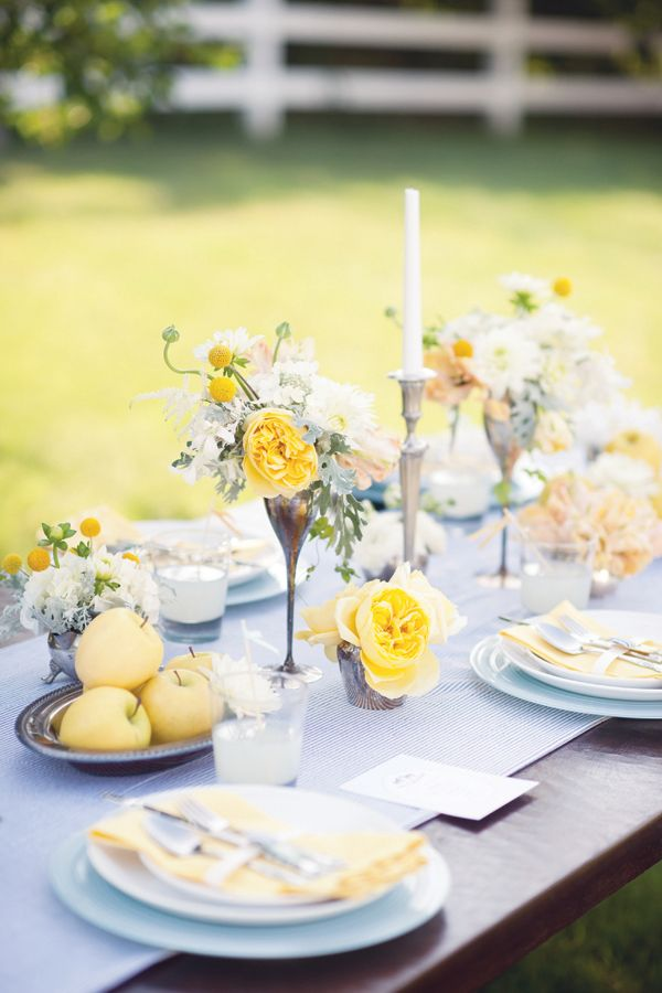 Blue yellow wedding tablescape