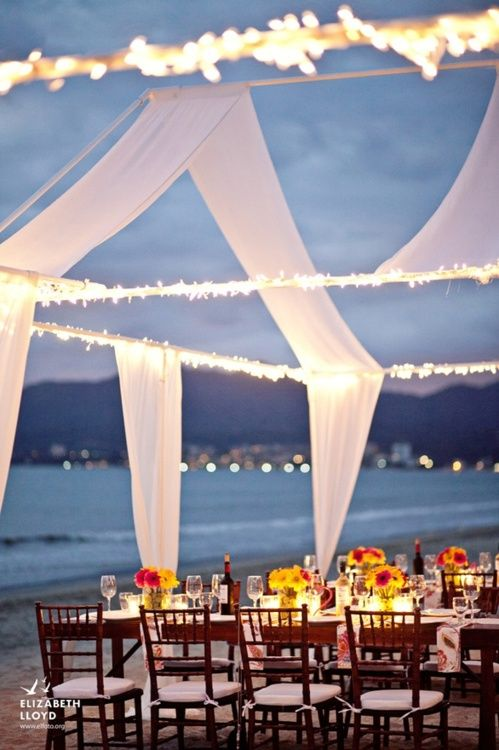 Romantic Beach Wedding Reception Table Setting On The Beach Fab
