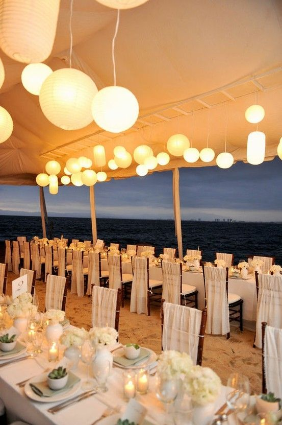 Wedding reception tablescape on the beach junglespirit Gallery