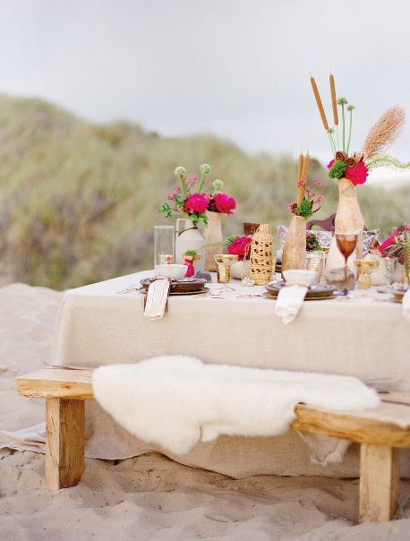 Chic Wedding Reception Table Setting On The Beach