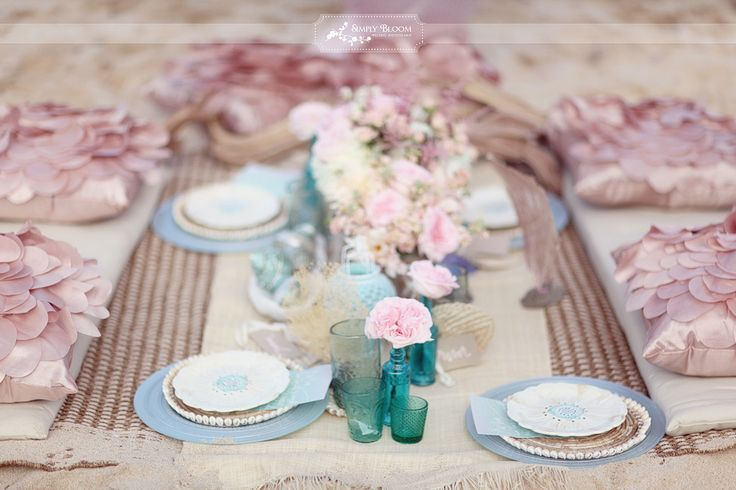 Rustic Pink & Turquoise Wedding reception on the beach ideas - Fab ...