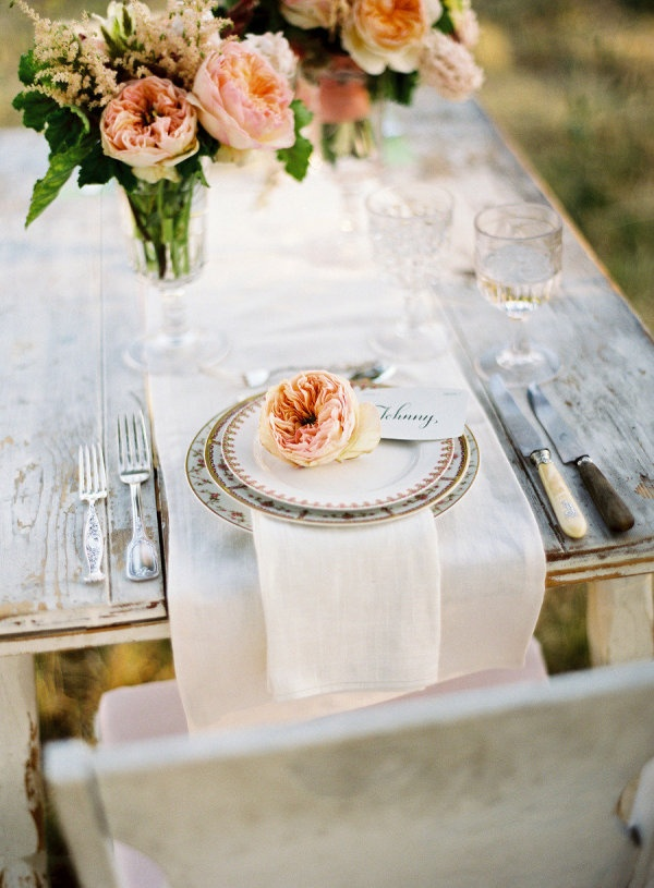 Peach floral wedding tablescape