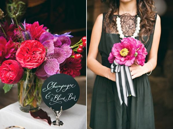 Hot Pink Bouquet wrapped with striped ribbon