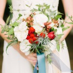 Red & White bouquet with blue ribbon