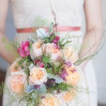 Peach garden roses wedding bouquet