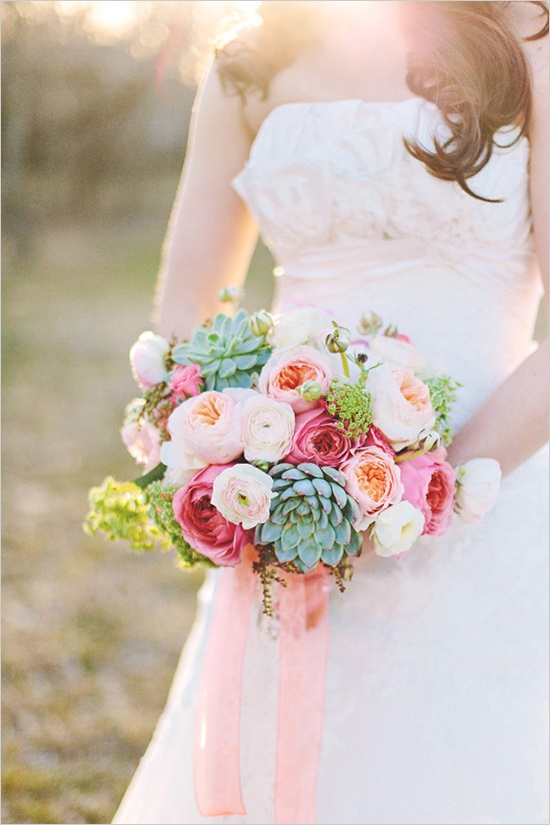 Succulents And Garden Roses Bridal Bouquet Fab Mood
