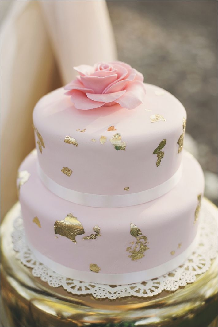 Gold Amp Pink Wedding Cake