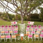 pink yellow wedding ceremony