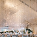 classic seaside wedding reception,ceiling sparkly drops romantic and classic wedding in Seaside,