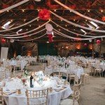 white red rustic wedding reception