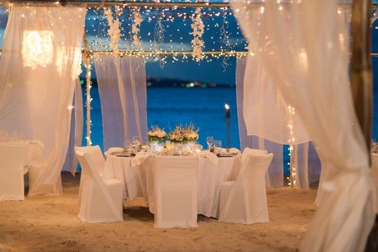 wedding reception on the beachBeach wedding reception