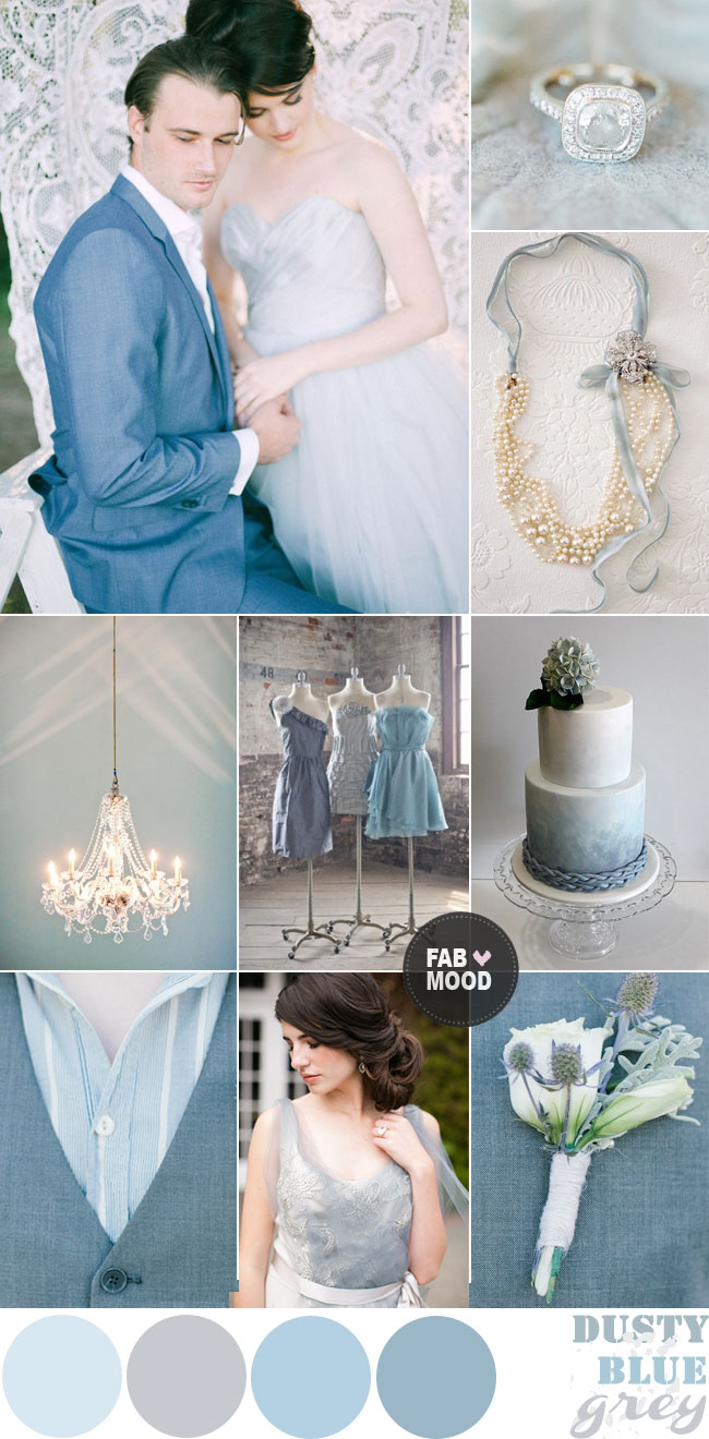 Winter wedding colour palette dusty blue grey wedding for Winter wedding color palettes