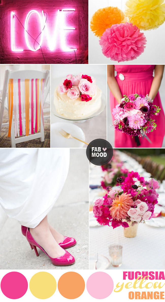fuchsia yellow orange summer wedding,summer wedding colour ideas,summer wedding color palette,fuchsia yellow wedding color palette,hot pink wedding color palette,fuchsia orange wedding color board