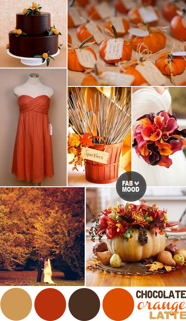 autumn wedding color palette brown orange wedding colors