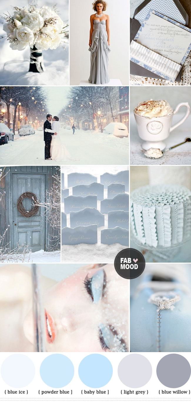 Winter wedding color palette, Blue Grey Winter Wedding Colors