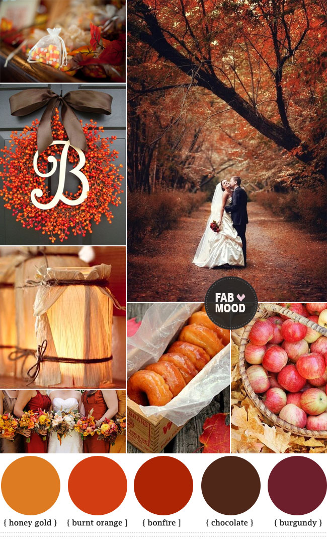 Autumn Wedding Colors Chocolate Brown Burnt Orange