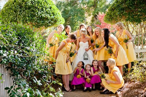 yellow fuchsia wedding party,yellow pink wedding party