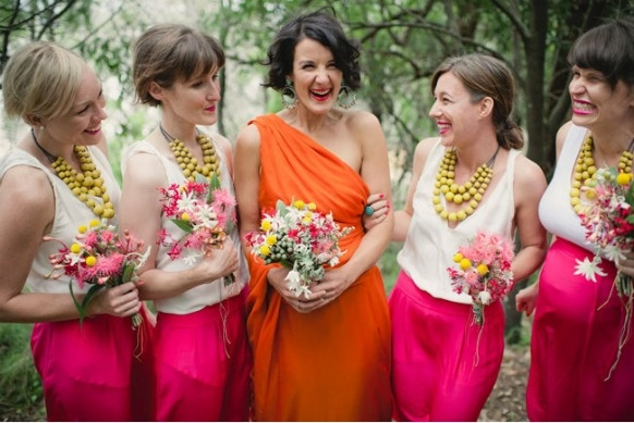 fuchsia orange bridesmaids,pink orange wedding party