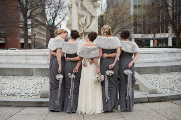 Winter Wedding Grey Bridesmaidswinter Bridesmaidsgrey Bridesmaid Dress