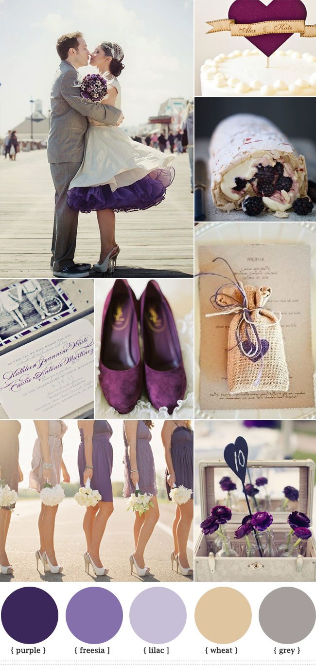 Purple Grey Wedding Autumn Colors