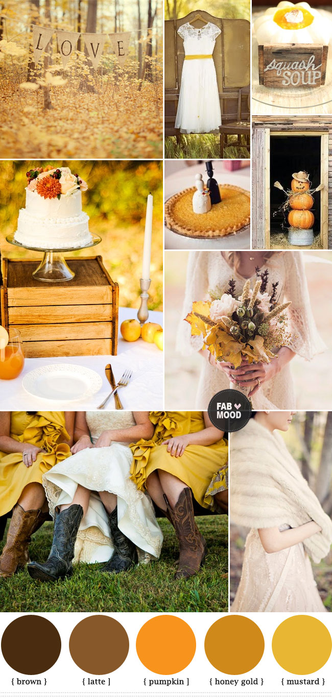 Mustard And Brown Wedding Colours Paletteautumn Wedding