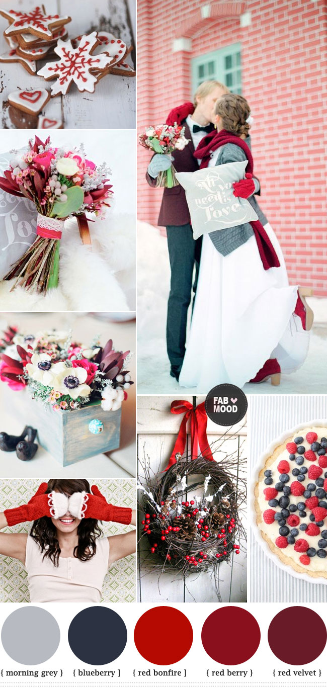 Red winter wedding ideas red wedding colour palette for Winter wedding color palettes