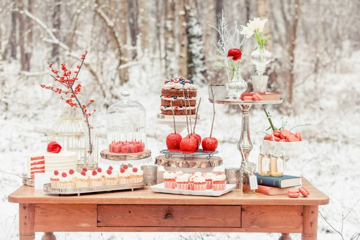 red winter wedding dessert table