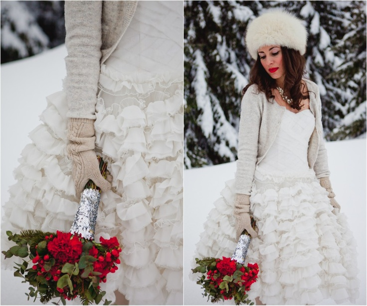 bride cardigan and red winter bouquet