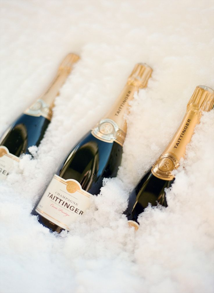 chilled champagne in snow
