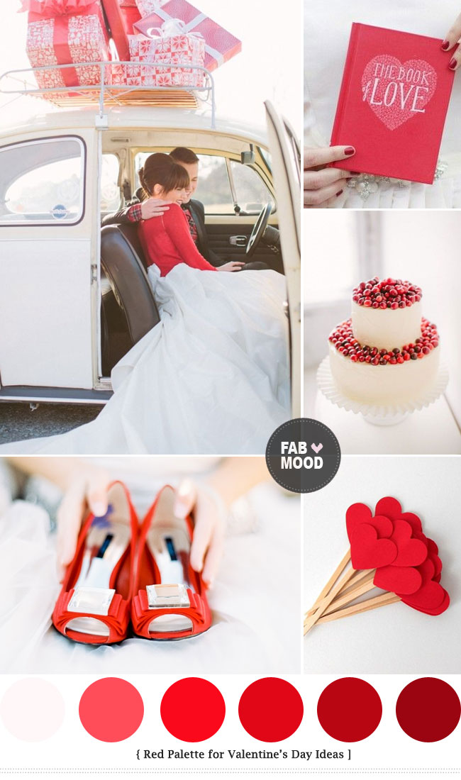 Red colour palette for Valentine's wedding day ideas