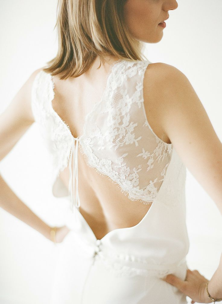 open back wedding dresses by Rime Arodaky - see more https://www.fabmood.com/open-back-wedding-dresses/