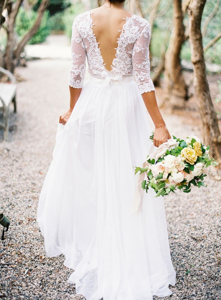 Mira Zwillinger wedding dress - see more https://www.fabmood.com/open-back-wedding-dresses/