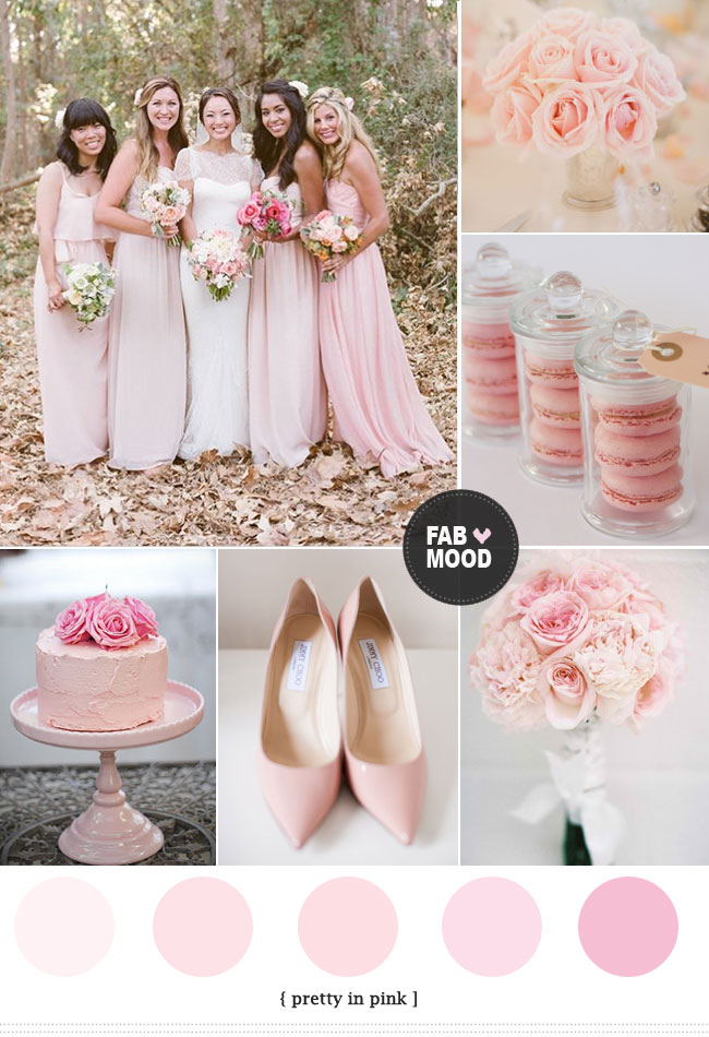 Pink wedding color schemes light pink wedding color ideas for Wedding color scheme ideas