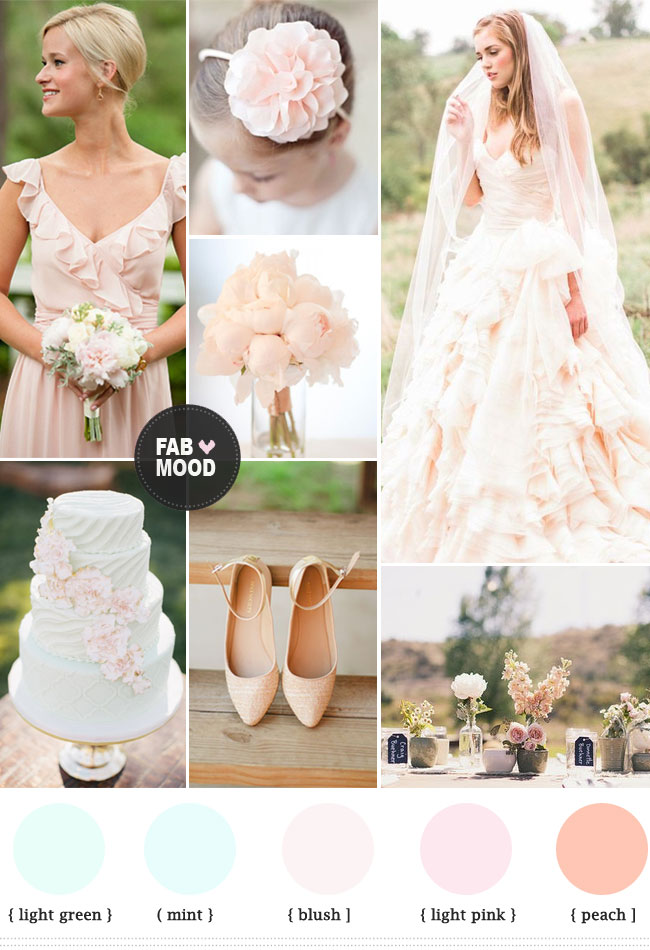 Read more http://www.fabmood.com/pastel-rustic-wedding-spring-wedding/ pastel wedding color schemes,pastel wedding color combinations,pastel wedding color palette,pastel rustic wedding,light green wedding colors,blush wedding