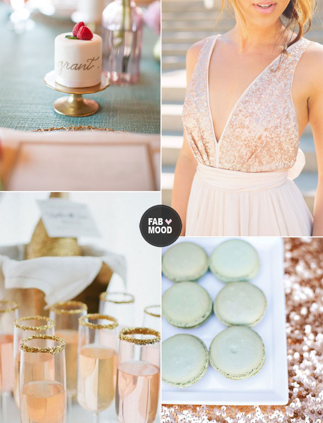 Read More Gold Sequins Mint And Pink Wedding Http