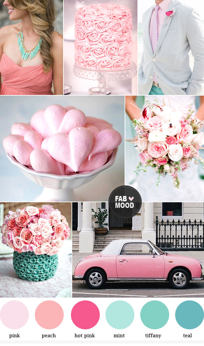 Read more Mint peach pink wedding colors palette, https://www.fabmood.com/mint-peach-pink-wedding-colors-palette/ tiffany and pink wedding colors