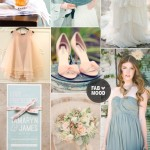 Shades of peach and grayed jade wedding