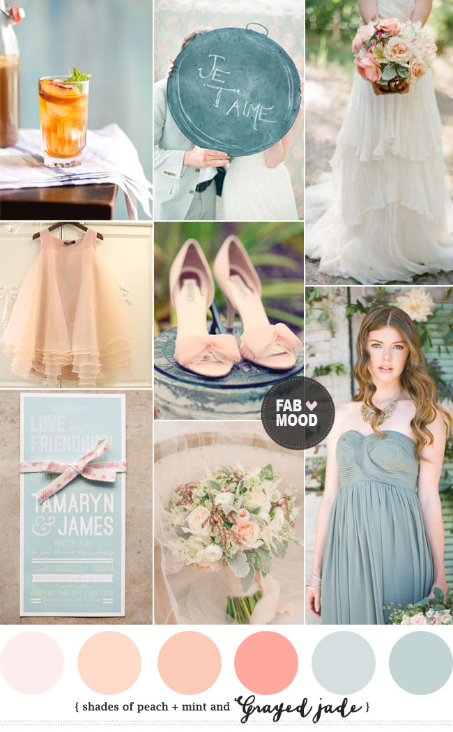 Read more Shades of Peach and Grayed Jade Wedding Colour Palette,grayed jade wedding ideas,shades of grayed jade peach wedding theme,grayed jade wedding colors  https://www.fabmood.com/peach-grayed-jade-wedding-colour-palette/