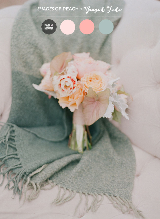 Shades of Peach and Grayed Jade Wedding Colour Palette